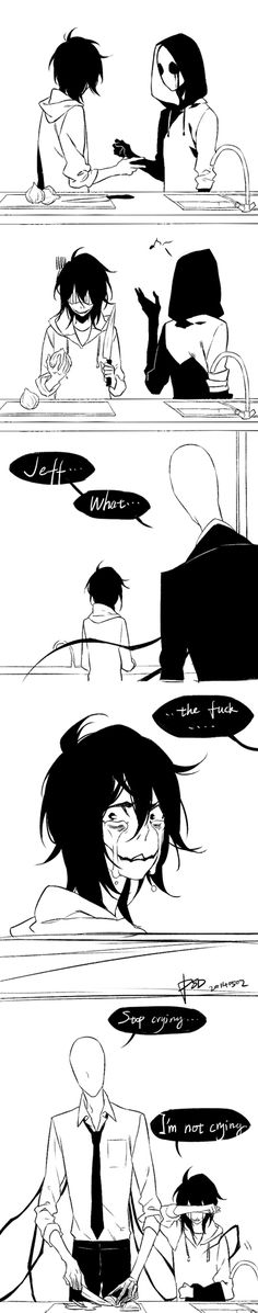 Creepypasta Jeff the killer x slenderman Creepypasta Comics, The Puppeteer Creepypasta, Creepypasta Cute, Jeff The Killer, Bd Comics, Funny Comics, Creepy Pasta Family, Eyeless Jack, Ben Drowned