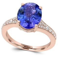 Effy Final Call 0.25TCW Diamonds, Tanzanite and 14K Rose Gold Ring ($2,255) ❤ liked on Polyvore featuring jewelry, rings, tanzanite diamond ring, druzy ring, pave diamond ring, diamond rings and diamond jewelry