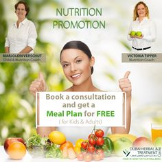 NUTRITION PROMOTION:  Book a consultation with Marjolein or Victoria and get a meal plan (Value 250 AED)for free.  1 x Consultation: 350 AED 1 x Meal Plan: 250 AED  Promotion valid from : 19th August to 31st of August.  Call 043351200 for an appointment.  ‪#‎DHTC‬