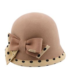 Vintage Khaki Felt Hat with Dot Print and Bow Detail