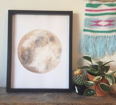 Moon Print Moon Painting Moon Art Lunar Artwork Boho by BirchBliss