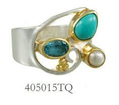 Blue Topaz, Turquoise, and Fresh Water Pearl ring - Harmonics Collection