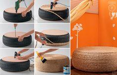 Que faire de vos vieux pneus inutilisables ?   Pourquoi pas un superbe #pouf ou une petite #table d´appoint facile à réaliser ?! #diy #DIY  http://www.kavehome.fr/blog/DIY_Recy_Pouf/  Source: http://bit.ly/1e51ijQ