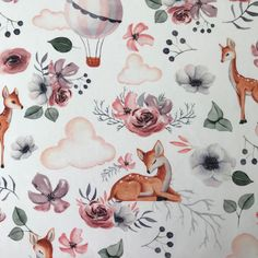 Sommersweat Rehe mit Ballon Shops, Rooster, Animals, Deer, Product Photography, Owls, Fabrics, Cotton, Animales