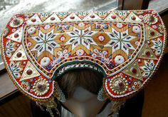 Beautiful embroidered hat from collection at Voss folkemuseum, Norway