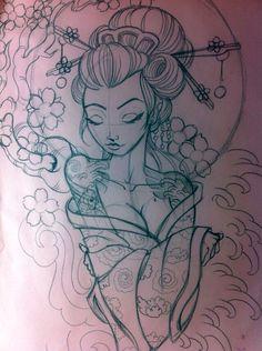 Japanese geisha sketch by on DeviantArt – tattoo sleeve women Tattoos 3d, Geisha Tattoos, Kunst Tattoos, Bild Tattoos, Love Tattoos, Geisha Tattoo Sleeve, Side Piece Tattoos, Geisha Tattoo Design, Tatoos