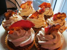Pumpkin-bacon cake with Maple cream cheese frosting topped with maple bacon! YUM!!!