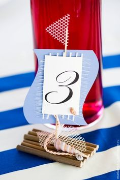 Cute table number for a nautical themed wedding.