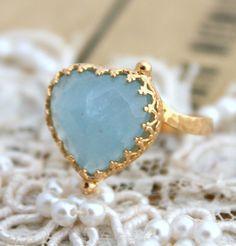 Hey, I found this really awesome Etsy listing at https://www.etsy.com/listing/121814877/blue-aqua-marine-heart-ring-14-k