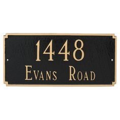 Montague Metal Madison Standard Two Line Address Sign Wall Plaque - PCS-0026S2-W-SBS