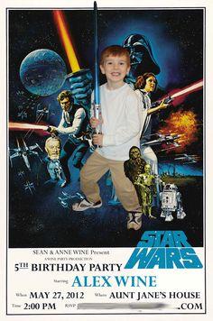 Alex's (my nephew) 5th birthday party invitation - Star Wars theme.