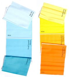 """table runners in graduated colors and color names--""""paint chip strips"""" in textile form!"""