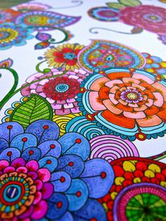 Rainbow Doodle by Angela Van Dam, Angel Creative from New Zeeland Folk Art Flowers, Flower Art, Cute Coloring Pages, Coloring Books, Colouring, Zen Doodle, Doodle Art, Pintura Hippie, Sharpie Art