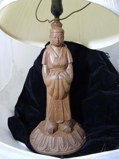 Vintage wooden Buddha lamp