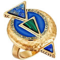 House of Harlow 1960 Hymn Selene Ring (Lapis) Ring ($72) ❤ liked on Polyvore featuring jewelry, rings, charm jewelry, house of harlow 1960, round ring, charm rings and house of harlow 1960 jewelry