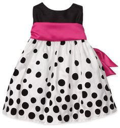 hot pink and black polka dot children's dress