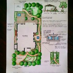 Landscape plan residential marker drawing with fountain details Landscape Design Plans, Garden Design Plans, Landscape Architecture, Texas Landscaping, Plan Sketch, Devine Design, Garden Drawing, Natural Playground, Plan Drawing