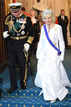 Prince Charles and his wife Camilla, Duchess of Cornwall attend the State Opening of Parliament in the House of Lords, at the Palace of Westminster on May 27, 2015 in London, England.