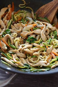 This faux lo mein dish is made with zoodles (zucchini noodles) in place of noodles and the results are DELISH (and bonus under 300 calories)! Each bowl is loaded with chicken and vegetables in a savory sauce. If you want to make this meatless, tofu would also be great in this dish. Start to finish this takes about 20 minutes to make... quicker than waiting for your take-out to get delivered! To make the zoodles you can use a vegetable spiralizer such as the Paderno Spiral Vegetable Slicer...