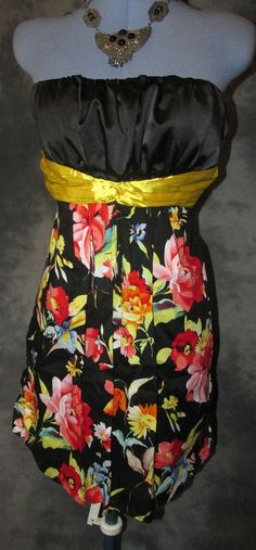 Ever pretty,ladies,size 1,black,floral,bandeau,knee length,formal,dress.