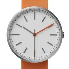 Uniform Wares 104 Series (orange/white) watch by Uniform Wares. Available at Dezeen Watch Store: www.dezeenwatchstore.com