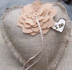 I DO  Rustic Burlap HEART Shaped Ring Bearer Pillow by GoRustic, $39.99