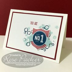 Rose Packer, Creative Roses, Stampin' Up!, Playful Backgrounds, Badges and… Do It Yourself Crafts, School Colors, Masculine Cards, Creative Crafts, Homemade Cards, Stampin Up Cards, I Card, Cardmaking, Greeting Cards