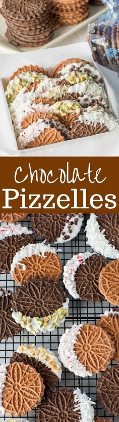 Chocolate Pizzelles dipped in white chocolate with peppermint, walnuts, chocolate chips, coconut and pistachios  www.savingdessert...