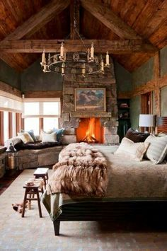 Master bedroom! Bag the chandler - but I like the fireplace, widows and corner seat :)