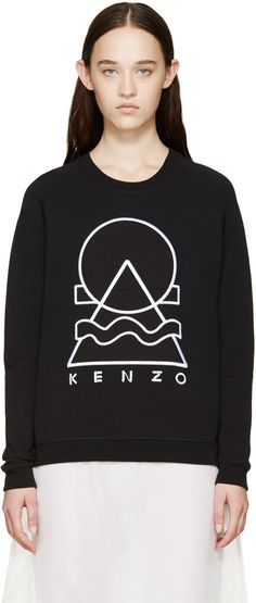 Long sleeve brushed cotton sweatshirt in black. Crewneck collar. Embroidered geometric logo in white at front. Tonal stitching.