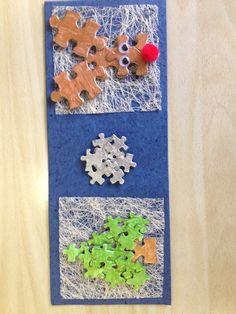 Nieuwjaarsbrief rendier en kerstboom met puzzelstukken