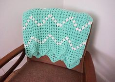 """Vintage Turquoise and White Afghan Throw Blanket 72"""" x 46"""" by heartkeyologie on Etsy https://www.etsy.com/listing/253011215/vintage-turquoise-and-white-afghan-throw"""