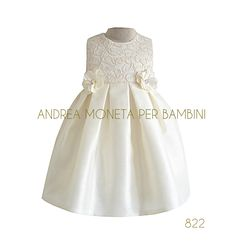 Made by Andrea Moneta Per Bambini Haute Couture Beautiful handmade dress made with sutage lace, shantung dupioni and tull Ideal for Baptism, Party, Birthday and Wedding
