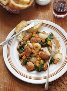 Sautéed Sweetbreads with Cipollini and Squash Cipollini Onions, Ricardo Recipe, Balsamic Vinegar, Sweet Bread, Kung Pao Chicken, Squash, Entrees, Beef, Baking