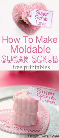 Learn how to make moldable solid sugar scrubs that are perfect for DIY Valentine's Day Gifts! Plus free printables for your finished solid sugar scrubs!