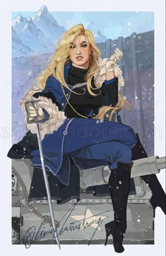Olivier Mira Armstrong Pin-Up Poster Print Fullmetal Alchemist Brotherhood, Fullmetal Alchemist Mustang, Fullmetal Alchemist Alphonse, Full Metal Alchemist Manga, Der Alchemist, Dnd Characters, Fantasy Characters, Character Concept, Character Art