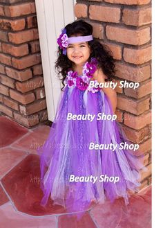 purple long tutu flower dress birthday party wedding photograph custom order all size. $44.99, via Etsy.