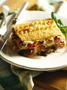 For this meatless lasagna recipe, noodles are layered with vegetables in a tomato-basil sauce, a white sauce, and three kinds of cheese; mozzarella, provolone, and Parmesan..