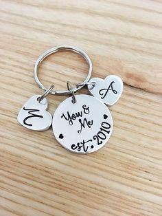 Valentines Gift for Husband Wife Girlfriend Boyfriend - Anniversary Gift for couples - You and Me est key chain - Personalized Hand Stamped #ad