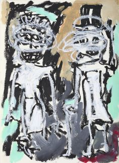 """This original work titled """"Couple 001"""" is 30x42 cm in oil stick & acrylic on paper (90 gr.). It was made in June 2016 in Spain and is signed and dated on the back. It will ship carefully rolled up ..."""