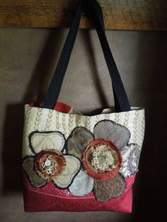 UPCYCLED TOTE BAG in Red Cream and Taupe di WhimsyEyeDesigns, $52.00