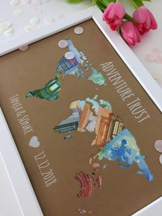 Individual gift idea wedding & witnesses * world map * with picture frame as a cash gift for honeymoon Trust Individuelle Geschenkidee Hochzeit & Trauzeugen Weltkarte Map Pictures, White Picture Frames, Pink Paper, Candy Making, Diy Gifts, Wedding Gifts, Birthday Gifts, Paracord Bracelets, Homemade