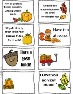 Come download and print the fall lunchbox notes to add to the kids lunchbox this week!