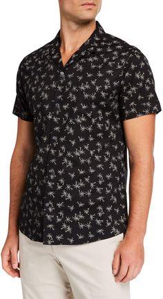 Slate & Stone Men's Short-sleeve Palm Tree Print Sports Shirt In Multi Pattern Camisa Rock, Slate Stone, Palm Tree Print, Striped Knit, Sports Shirts, Men Casual, Short Sleeves, Man Shop, Mens Tops