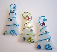 Ice Tree Trio Glass Ornaments - Wire Wrapped. $30.00, via Etsy.