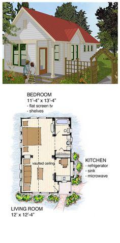 Narrow Lot House Plan 56581 | Total Living Area: 516 sq ft, 1 bedroom 1 bathroom. Concept Plan Package #narrowlot #houseplan