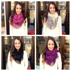 Infinity Fringe Scarf-I bought this scarf in purple and I love it because it's mixed knits!