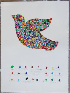 Peace Dove Print - I'm guessing these are fingerprints. For a young class you could temporarily cover all but the Peace Dove (or any other shape) so that the integrity of the shape is retained. Would probably do the same for the individual prints at the bottom to ensure placement where you want them.