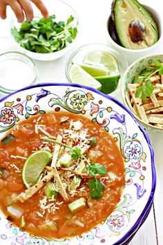 Veggie Tortilla Soup with Quinoa Recipe. Crunchy tortilla strips, avocados, and cheese offer something for everyone.
