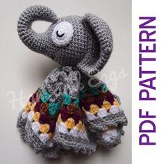 Amigurumi elefante soñoliento seguridad bebé manta Lovey PDF ganchillo patrón juguete regalo